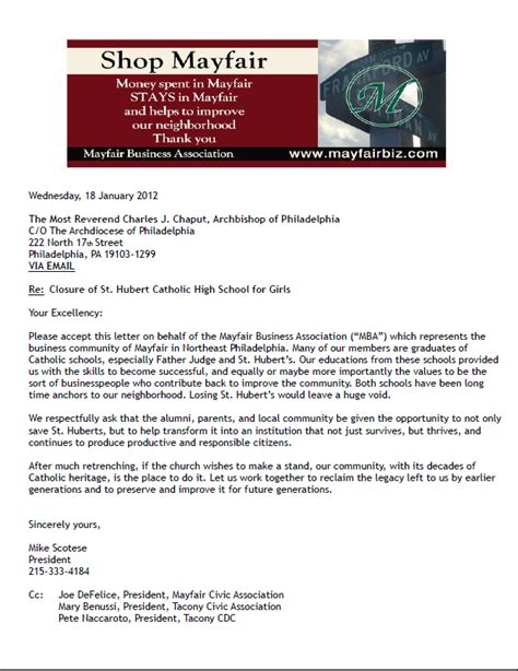 Letter For Business Association Mayfair Civic Association Mayfair Business Association Letter To His Excellency Charles J