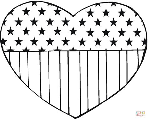 online coloring pages american flag usa flag in a heart shape coloring page free printable