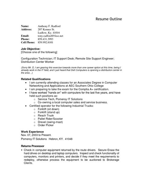 Resume For A by Resume Outline Resume Cv