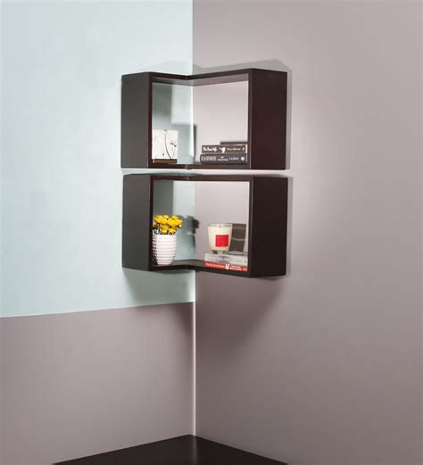 buy sanremo wenge corner wall shelf in brown by casacraft