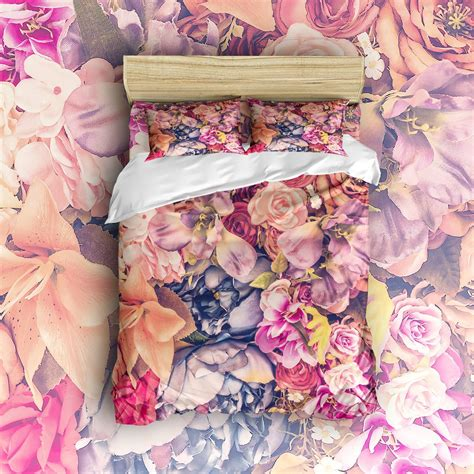 piece bed sheets set colorful large flowers print