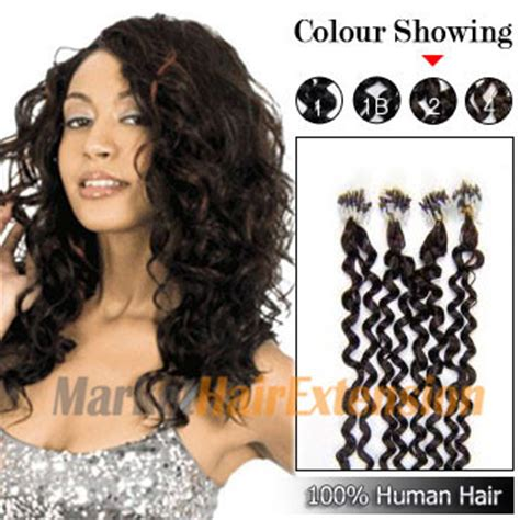 round hair extention buy 16 quot dark brown 2 100s curly micro loop human hair