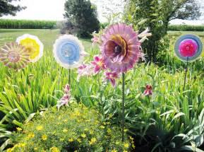 Glass Plate Garden Flowers Shabby Chic Garden Plate Glass Flower Yard By Jarmfarm On Etsy