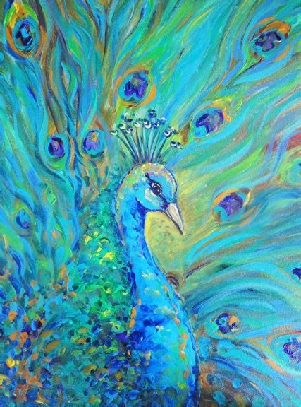 peacock bird signed print on canvas