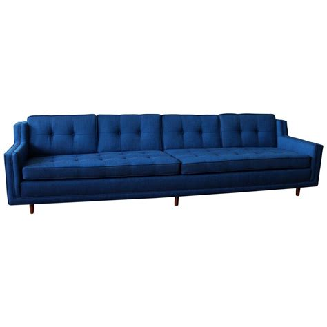 Blue Mid Century Modern Low Slung Nemschoff Sofa At 1stdibs Modern Blue Sofa