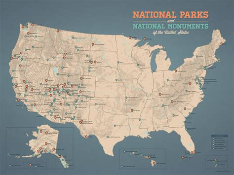 map of all us national parks and monuments us national parks monuments map 18x24 poster by bestmapsever