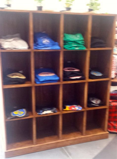 rustic wood  shirt cubby display unit wooden display