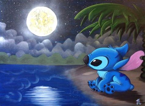 stitches painting stitch the moon disney painting by cloud