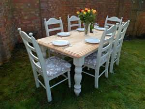 Ebay Painted Dining Table And Chairs Beautiful 6ft Oak Shabby Chic Dining Table And 6 Chairs