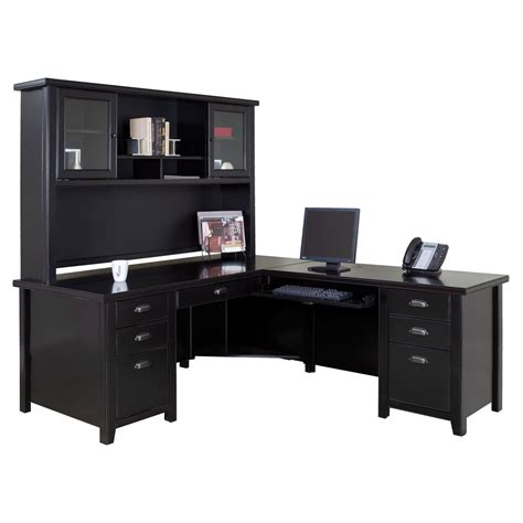 Black Desk With Hutch Kathy Ireland Home By Martin Tribeca Loft Executive L Shaped Desk With Optional Hutch Black