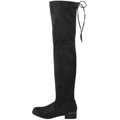 stretch high heel boots womens low heel thigh high the knee stretch