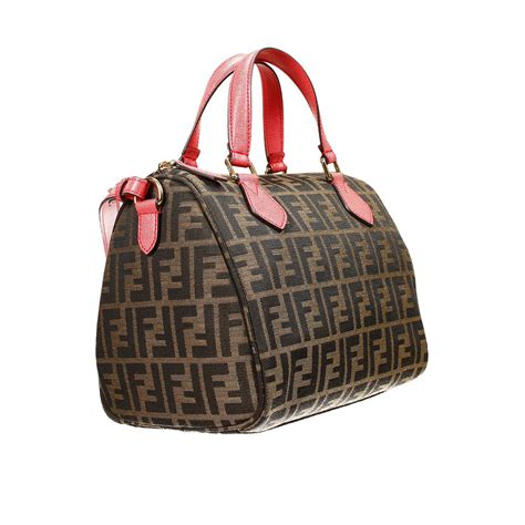 Fendi Coral Pink Embossed Satin Handbag by Fendi Handbag Bag Zucca Duffle Contrast In Pink Coral Lyst