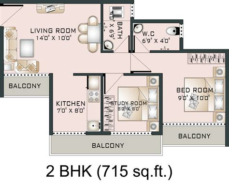 2 Bedroom Apartment Floor Plans by Floor Plan Shubh Vastu At Vasind West Mumbai Beyond