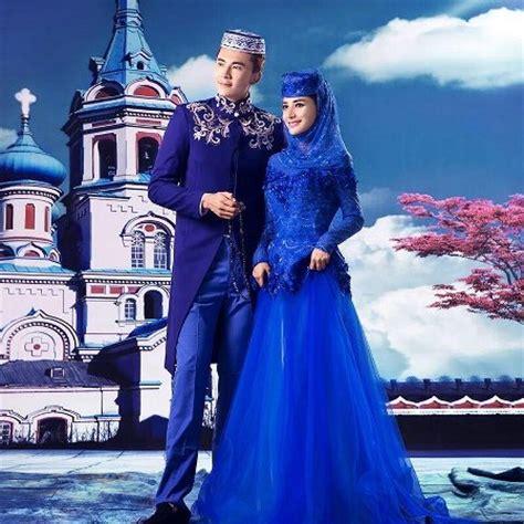 Gaun Gamis Modern 2 Biru gaun pengantin muslimah modern warna biru untuk