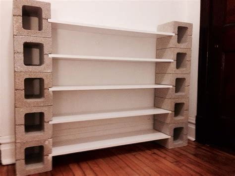 diy shelf with concrete blocks displays