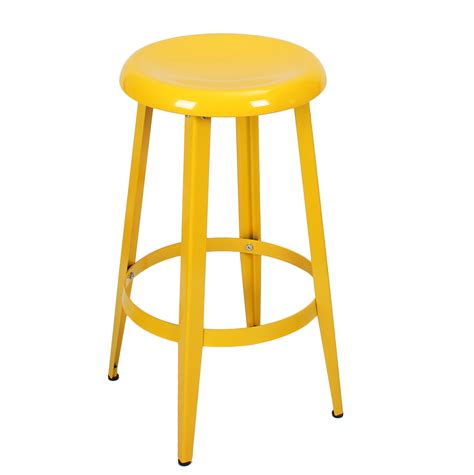 bar stools 26 inch joveco metal round top backless 26 inch stool yellow