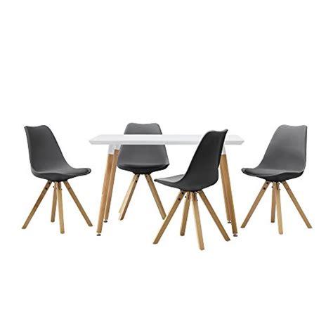 esstisch mit 4 stühlen en casa esstisch mit 4 st 252 hlen grau gepolstert 120x80cm