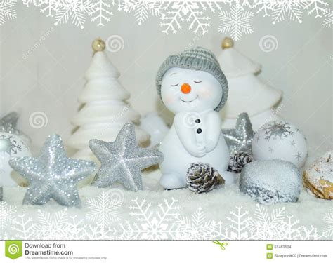 Snowman Decoration White white snowman with winter snow background