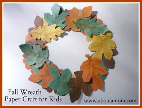 Fall Construction Paper Crafts - fall wreath paper craft for children church