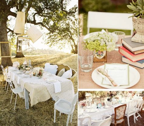 outdoor weddings vintage theme reception tabletops