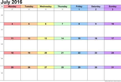 printable planner july 2016 july 2016 blank printable calendar