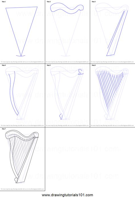 how to draw a doodle step by step how to draw a harp printable step by step drawing sheet