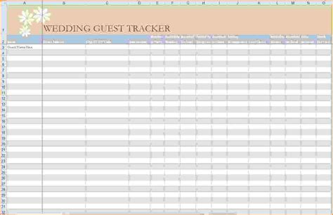 4 printable wedding guest list template expense report