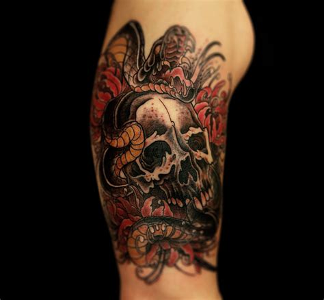 snake and skull tattoo traditional skull and snake www pixshark
