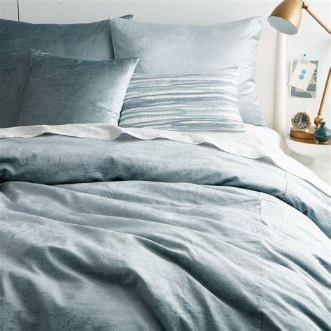 Dusty Blue Duvet Cover washed cotton lustre velvet duvet cover pillowcases dusty blue west elm uk