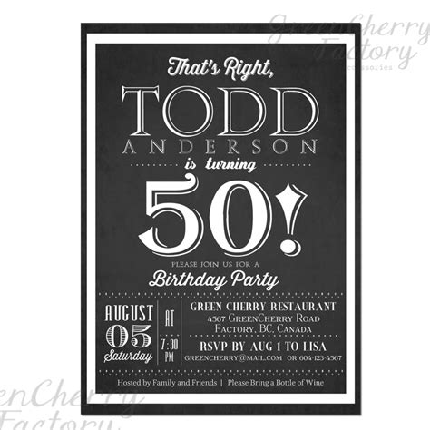 black and white 50th birthday invitations milestone birthday invitation black and white typography any age 30th 40th 50th 60th