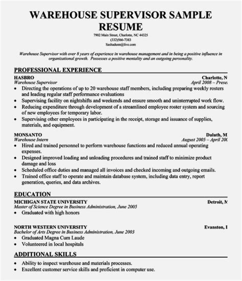 Warehouse Sle Resume Description Templatez234 Free Best Templates And Forms Templatez234