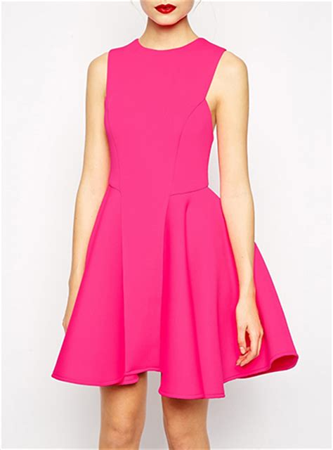Dress Pink Fit L pink fit and flare dress sleeveless princess seams