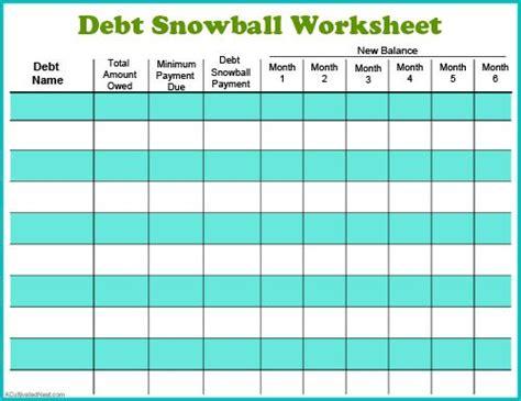 debt list template debt snowball images