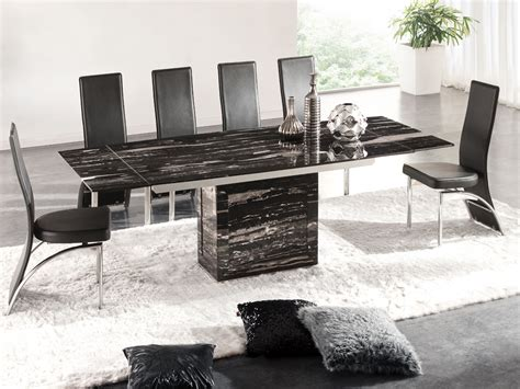 Marble Dining Table And 6 Chairs Zeus Black Nero Marble Extending Dining Table 6 D212 Chairs