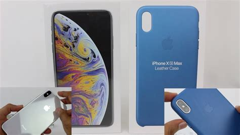 iphone xs max silver cape cod blue leather unboxing