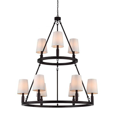 Tier Chandelier Feiss Lismore 9 Light Rubbed Bronze Multi Tier Chandelier F2937 3 6orb The Home Depot
