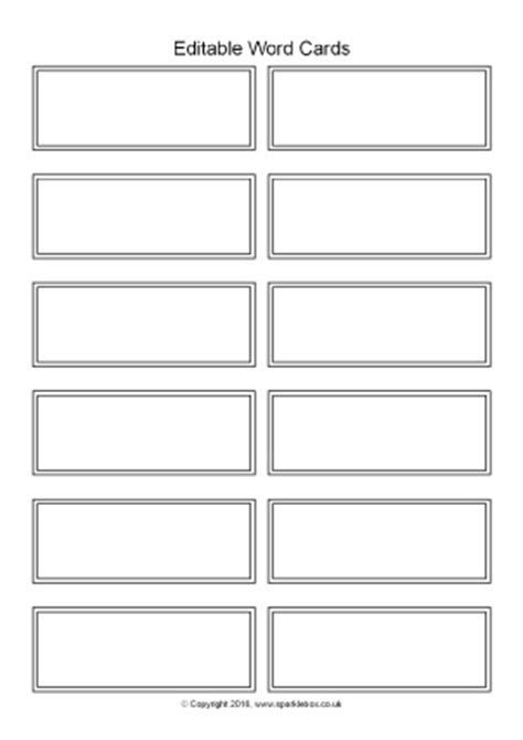 Flash Card Template For Word 2007 by Editable Primary Teaching Resources Flash Cards Labels