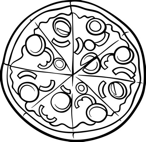 free coloring pages of pizza clipart