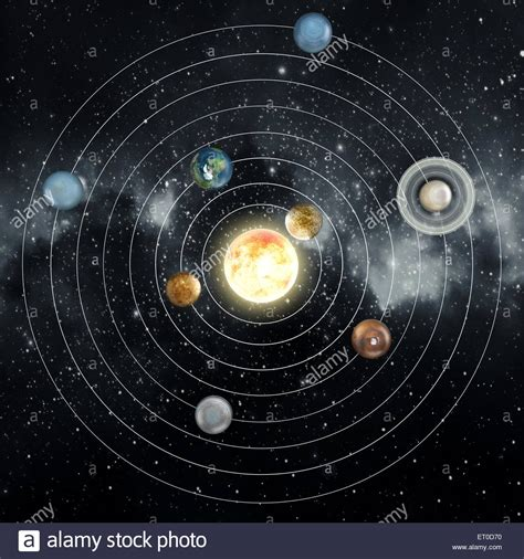 solar system diagram in the space stock photo royalty