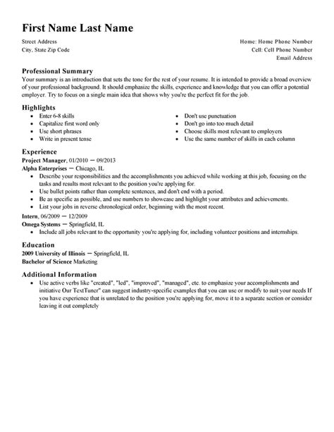 Brief Cv Template by Free Professional Resume Templates Livecareer