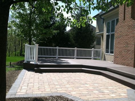 wood deck with paver patio wood deck and patio combination outdoor spaces