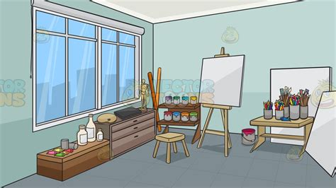 Home Painting Color Ideas Interior an art studio background cartoon clipart vector toons