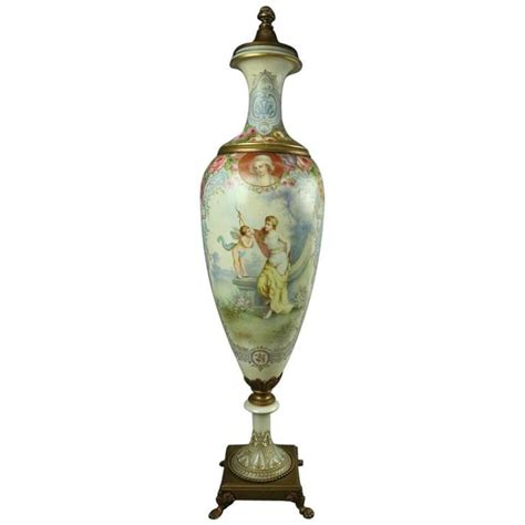 Urn L by Lg Antique Sevres Painted Porcelain And Bronze