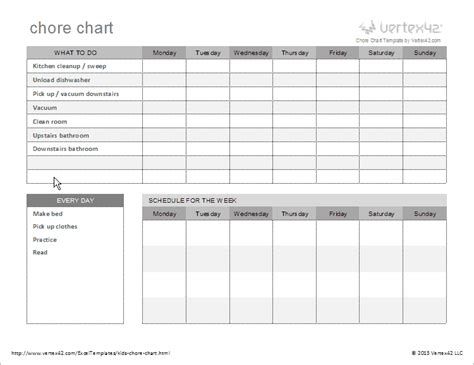 daily chore chart template free chore chart template