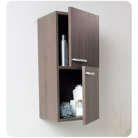 Bathroom Side Cabinet Fresca Gray Oak Bathroom Linen Side Cabinet W 2 Storage Areas Burroughs Hardwoods Store