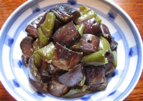 sauteed eggplant and green pepper with miso recipe by chihiro kaji cookpad