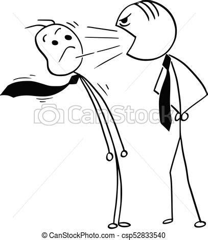 vector cartoon of boss yelling at office worker. cartoon