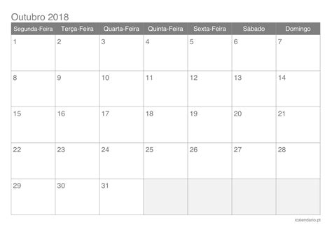Calendario 2018 Mes De Outubro Calend 225 Outubro 2018 Para Imprimir Icalend 225 Pt