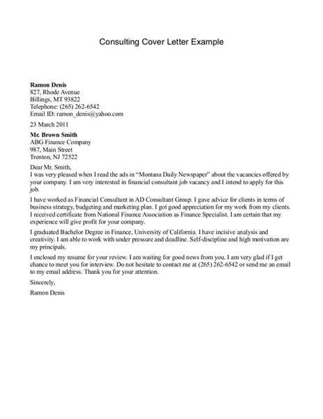 Cover Letter For Consulting by Sales Consultant Cover Letter