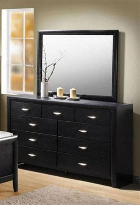black chest of drawers with mirror acme furniture hailee wood grain black dresser and